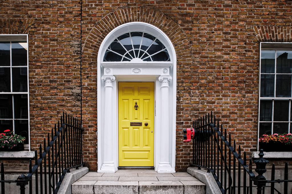 interior design colorful yellow door