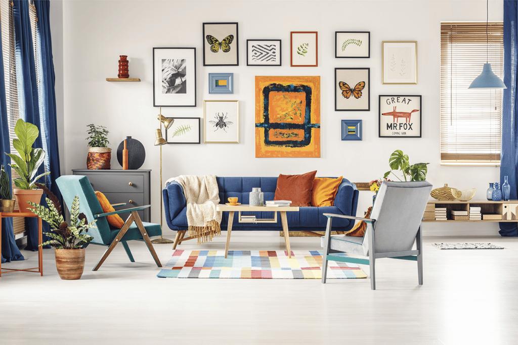 colorful gallery wall interior design